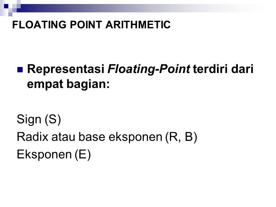 Representasi Floating-Point terdiri dari empat bagian: Sign (S) Radix atau base eksponen (R, B) Eksponen (E) FLOATING POINT ARITHMETIC