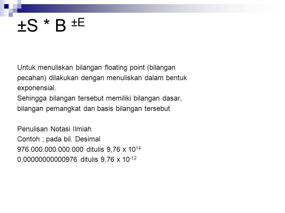 ±S * B ±E Untuk menuliskan bilangan floating point (bilangan pecahan) dilakukan dengan menuliskan dalam bentuk exponensial. Sehingga bilangan tersebut
