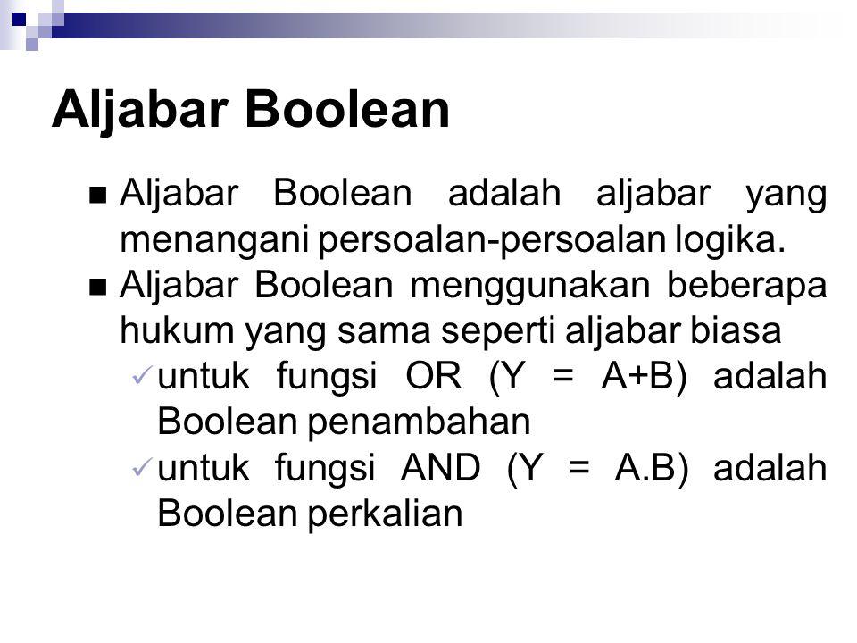 Aljabar Boolean Aljabar Boolean adalah aljabar yang menangani persoalan-persoalan logika. Aljabar Boolean menggunakan beberapa hukum yang sama seperti