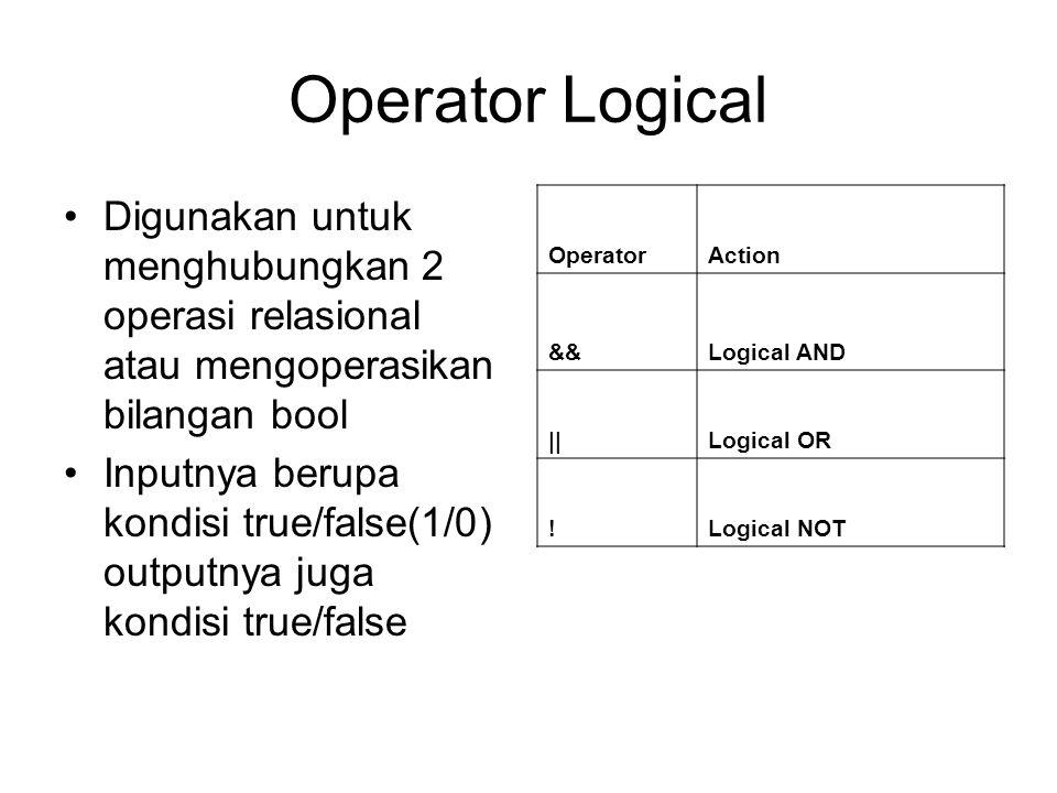 Operator Logical Digunakan untuk menghubungkan 2 operasi relasional atau mengoperasikan bilangan bool Inputnya berupa kondisi true/false(1/0) outputnya juga kondisi true/false OperatorAction &&Logical AND ||Logical OR !Logical NOT
