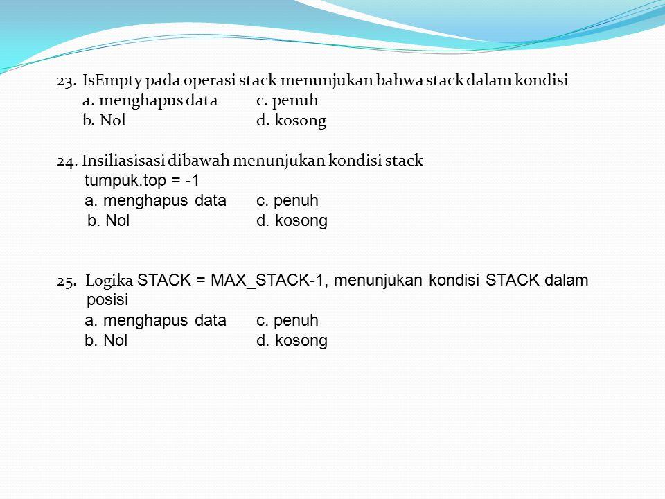 23.IsEmpty pada operasi stack menunjukan bahwa stack dalam kondisi a. menghapus datac. penuh b. Nold. kosong 24. Insiliasisasi dibawah menunjukan kond