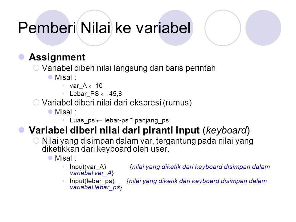 Pemberi Nilai ke variabel Assignment  Variabel diberi nilai langsung dari baris perintah Misal : var_A  10 Lebar_PS  45,8  Variabel diberi nilai d