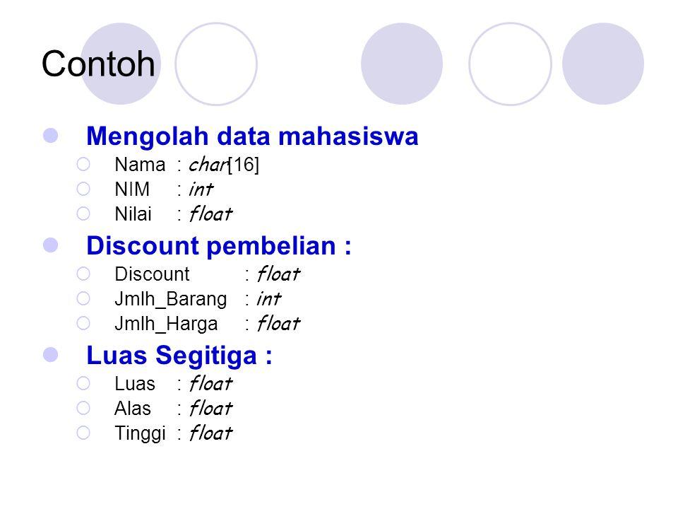 Contoh Mengolah data mahasiswa  Nama : char [16]  NIM : int  Nilai : float Discount pembelian :  Discount : float  Jmlh_Barang : int  Jmlh_Harga