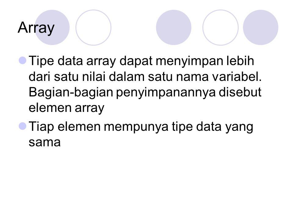 Array Tipe data array dapat menyimpan lebih dari satu nilai dalam satu nama variabel. Bagian-bagian penyimpanannya disebut elemen array Tiap elemen me