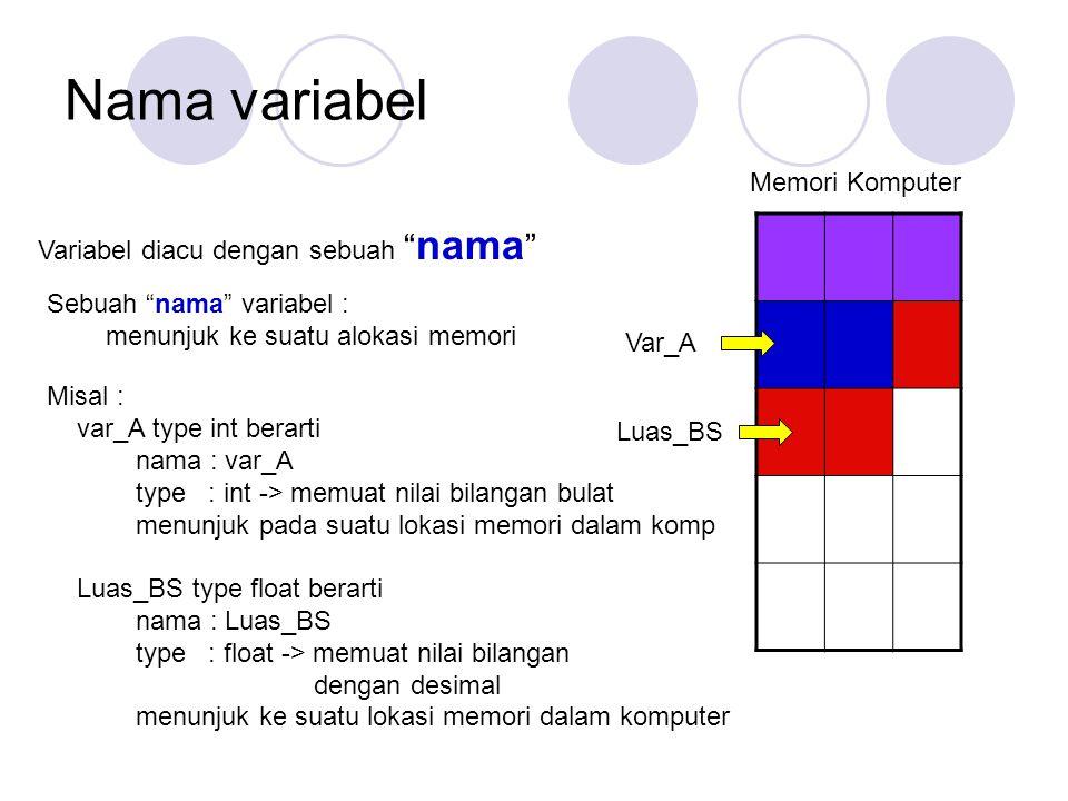 "Nama variabel Variabel diacu dengan sebuah "" nama "" Sebuah ""nama"" variabel : menunjuk ke suatu alokasi memori Misal : var_A type int berarti nama : va"