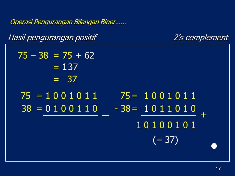 17 Hasil pengurangan positif Operasi Pengurangan Bilangan Biner…… 2's complement 75 – 38 75 38 = 1 0 0 1 0 1 1 = 0 1 0 0 1 1 0 = 1 0 0 1 0 1 1 = 1 0 1