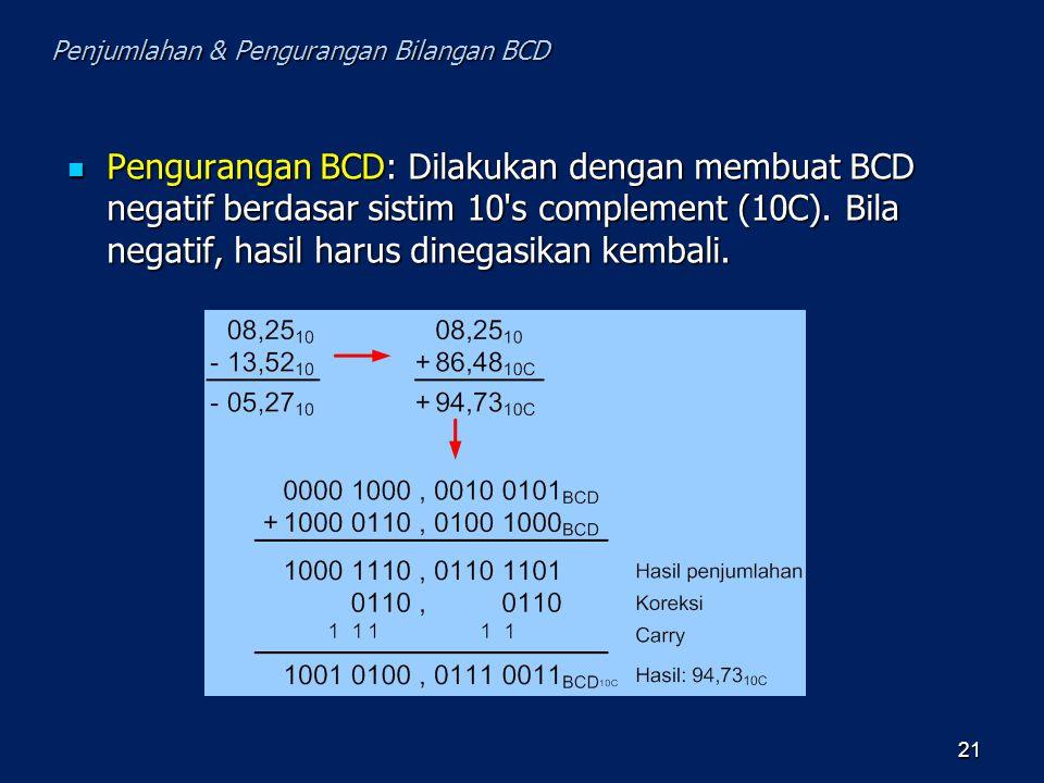 Pengurangan BCD: Dilakukan dengan membuat BCD negatif berdasar sistim 10's complement (10C). Bila negatif, hasil harus dinegasikan kembali. Penguranga
