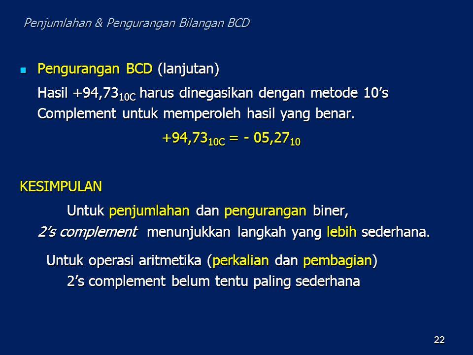 Pengurangan BCD (lanjutan) Pengurangan BCD (lanjutan) Hasil +94,73 10C harus dinegasikan dengan metode 10's Complement untuk memperoleh hasil yang ben