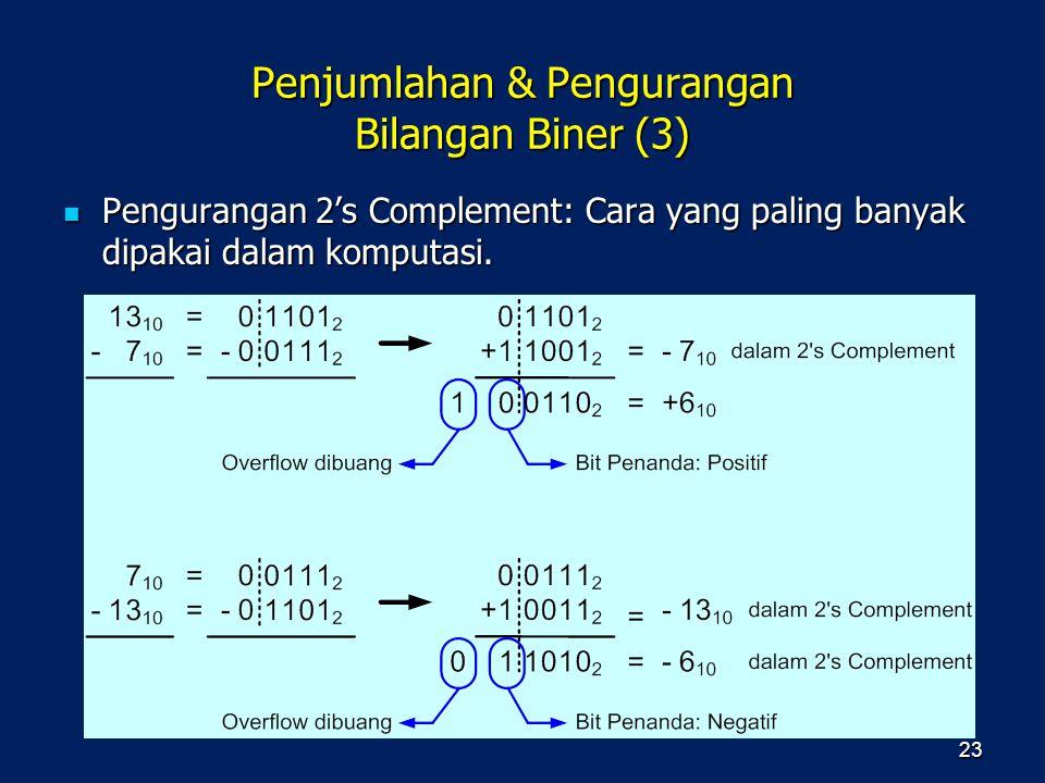 Penjumlahan & Pengurangan Bilangan Biner (3) Pengurangan 2's Complement: Cara yang paling banyak dipakai dalam komputasi. Pengurangan 2's Complement: