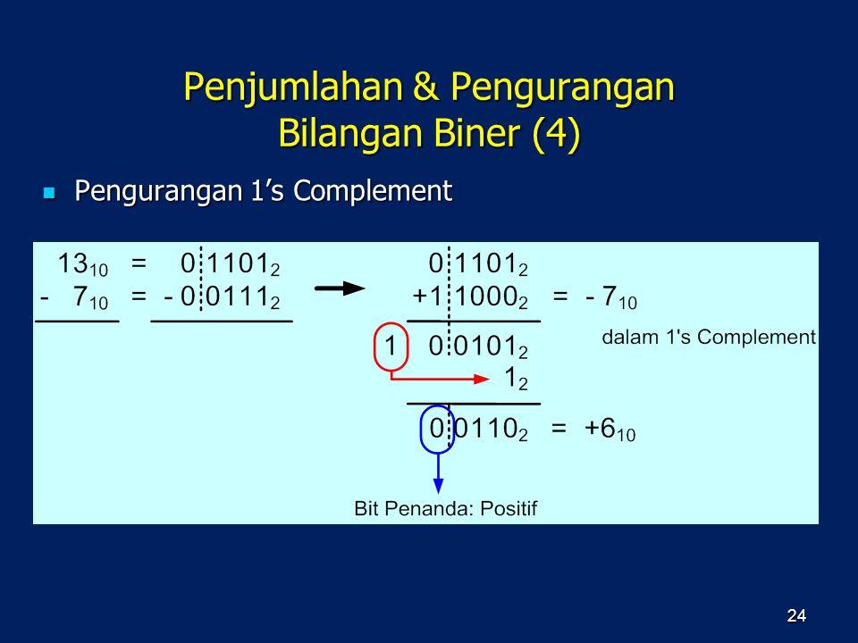 Penjumlahan & Pengurangan Bilangan Biner (4) Pengurangan 1's Complement Pengurangan 1's Complement 24