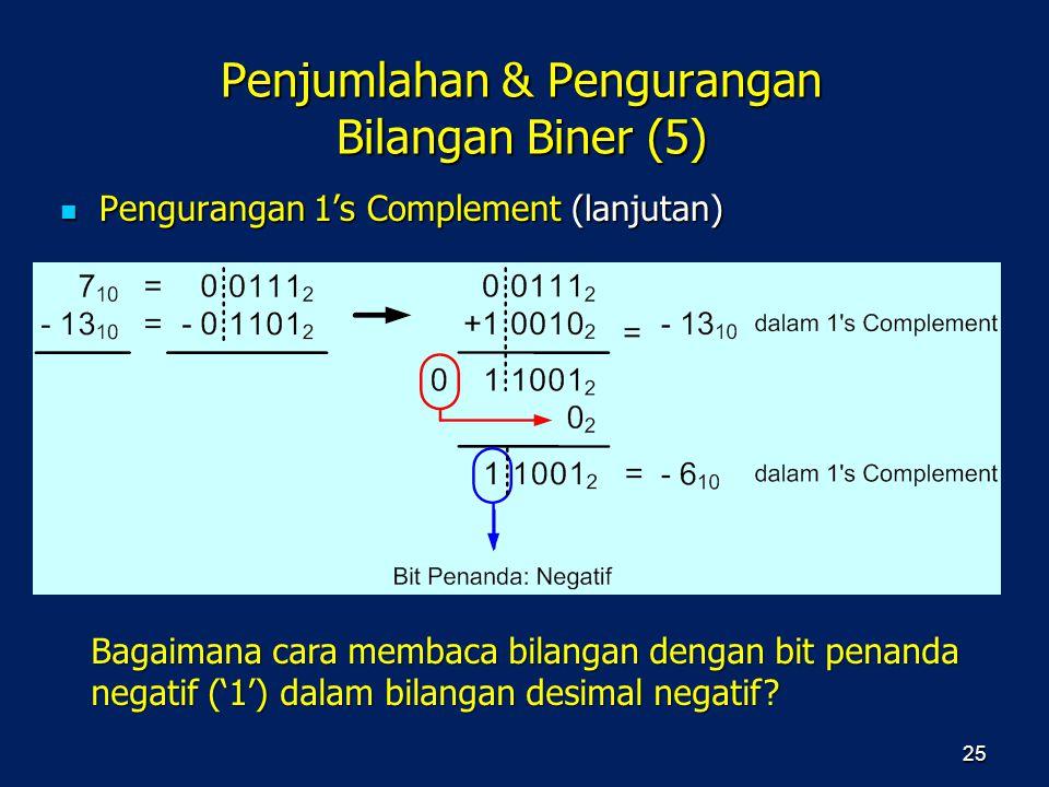 Penjumlahan & Pengurangan Bilangan Biner (5) Pengurangan 1's Complement (lanjutan) Pengurangan 1's Complement (lanjutan) 25 Bagaimana cara membaca bil