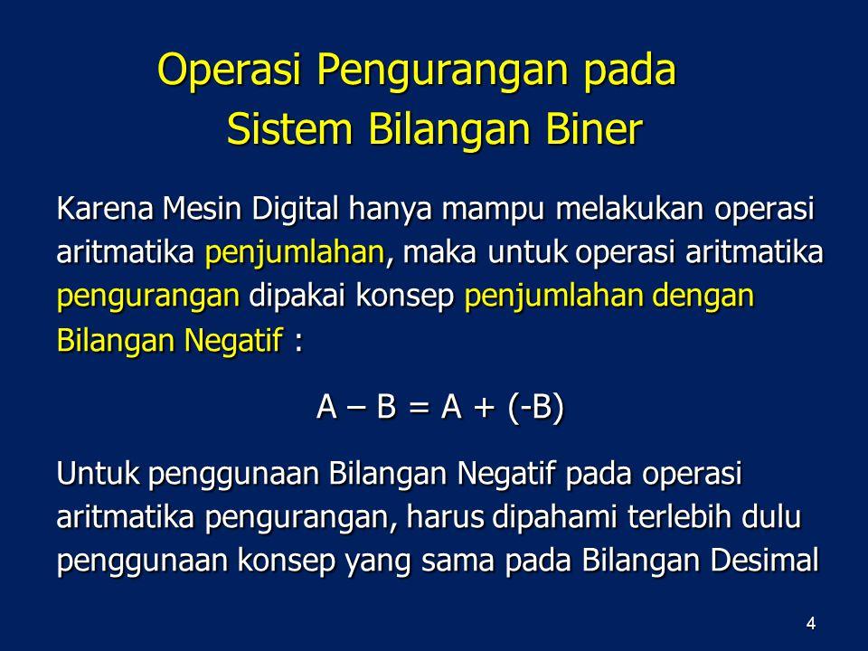 Karena Mesin Digital hanya mampu melakukan operasi aritmatika penjumlahan, maka untuk operasi aritmatika pengurangan dipakai konsep penjumlahan dengan