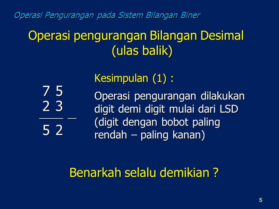 Operasi pengurangan Bilangan Desimal (ulas balik) 5 Kesimpulan (1) : Operasi pengurangan dilakukan digit demi digit mulai dari LSD (digit dengan bobot