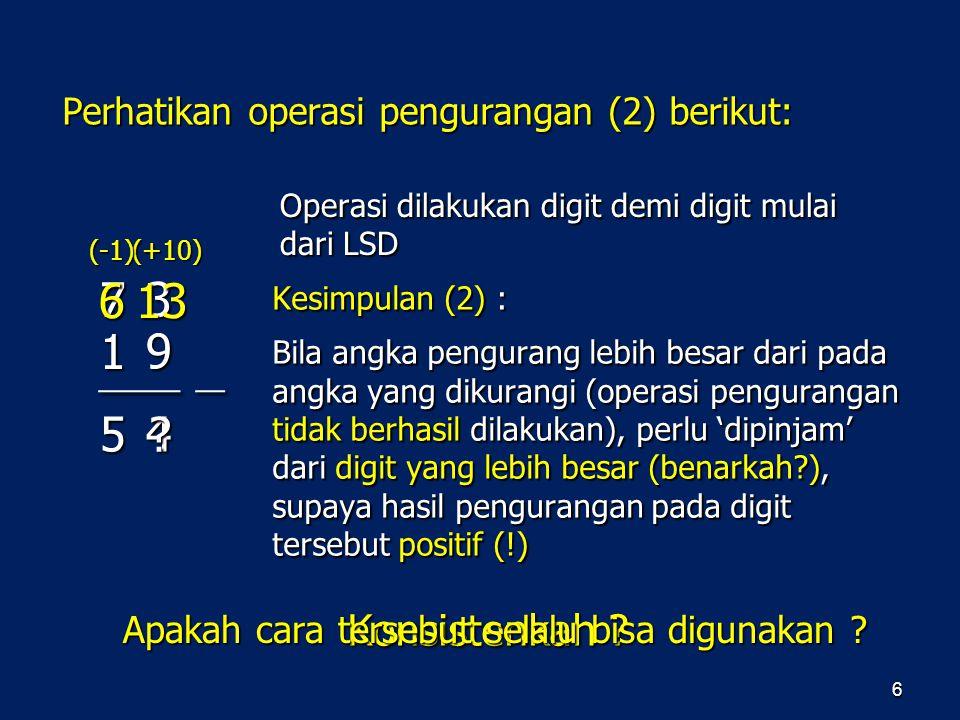 Perhatikan operasi pengurangan (2) berikut: 6 Kesimpulan (2) : Bila angka pengurang lebih besar dari pada angka yang dikurangi (operasi pengurangan ti