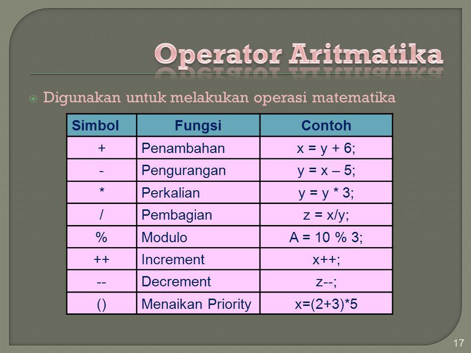 Digunakan untuk melakukan operasi matematika 17 SimbolFungsiContoh +Penambahanx = y + 6; -Pengurangany = x – 5; *Perkaliany = y * 3; /Pembagianz = x/y; %ModuloA = 10 % 3; ++Incrementx++; --Decrementz--; ()Menaikan Priorityx=(2+3)*5
