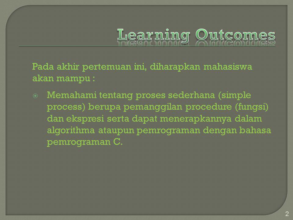 Pada akhir pertemuan ini, diharapkan mahasiswa akan mampu :  Memahami tentang proses sederhana (simple process) berupa pemanggilan procedure (fungsi) dan ekspresi serta dapat menerapkannya dalam algorithma ataupun pemrograman dengan bahasa pemrograman C.