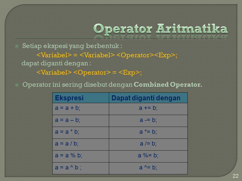 22  Setiap ekspesi yang berbentuk : = ; dapat diganti dengan : = ;  Operator ini sering disebut dengan Combined Operator.