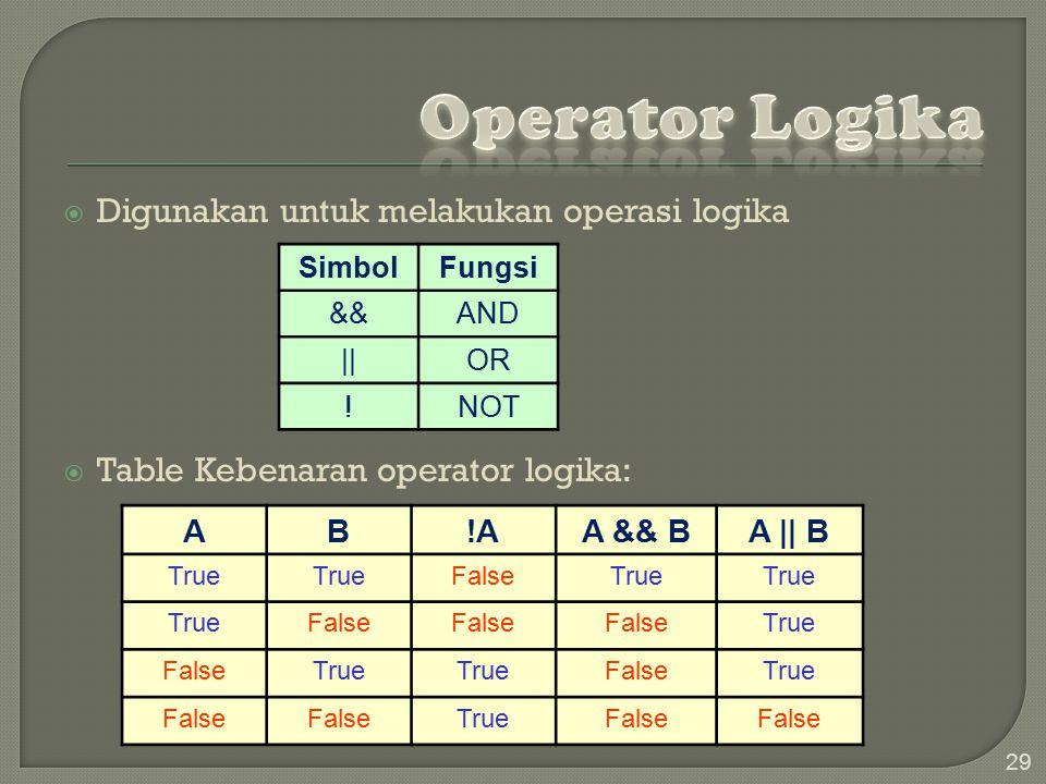 29  Digunakan untuk melakukan operasi logika  Table Kebenaran operator logika: AB!AA && BA    B True FalseTrue False True FalseTrue FalseTrue False TrueFalse SimbolFungsi &&AND   OR !NOT