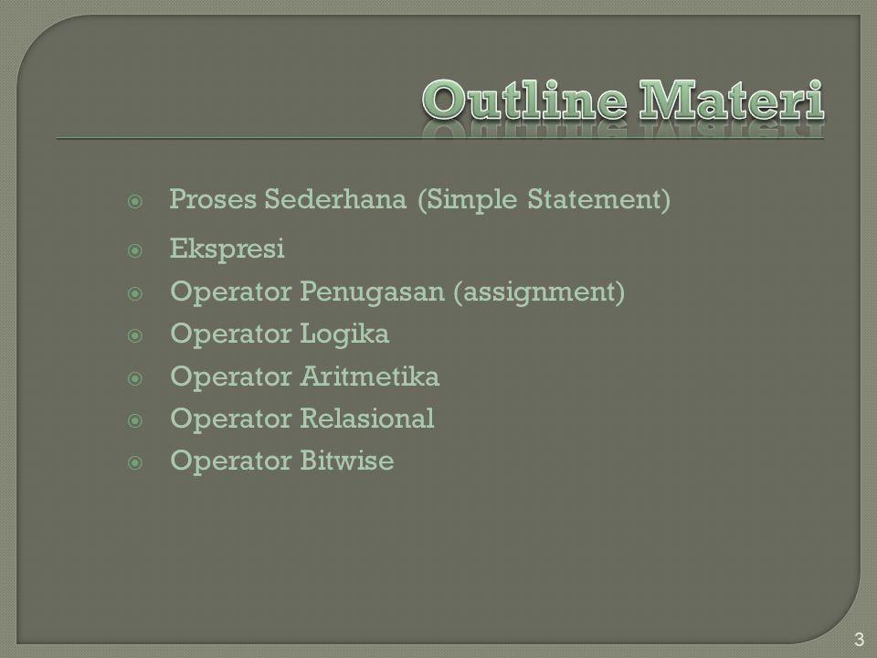  Proses Sederhana (Simple Statement)  Ekspresi  Operator Penugasan (assignment)  Operator Logika  Operator Aritmetika  Operator Relasional  Operator Bitwise 3