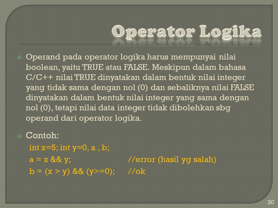  Operand pada operator logika harus mempunyai nilai boolean, yaitu TRUE atau FALSE.