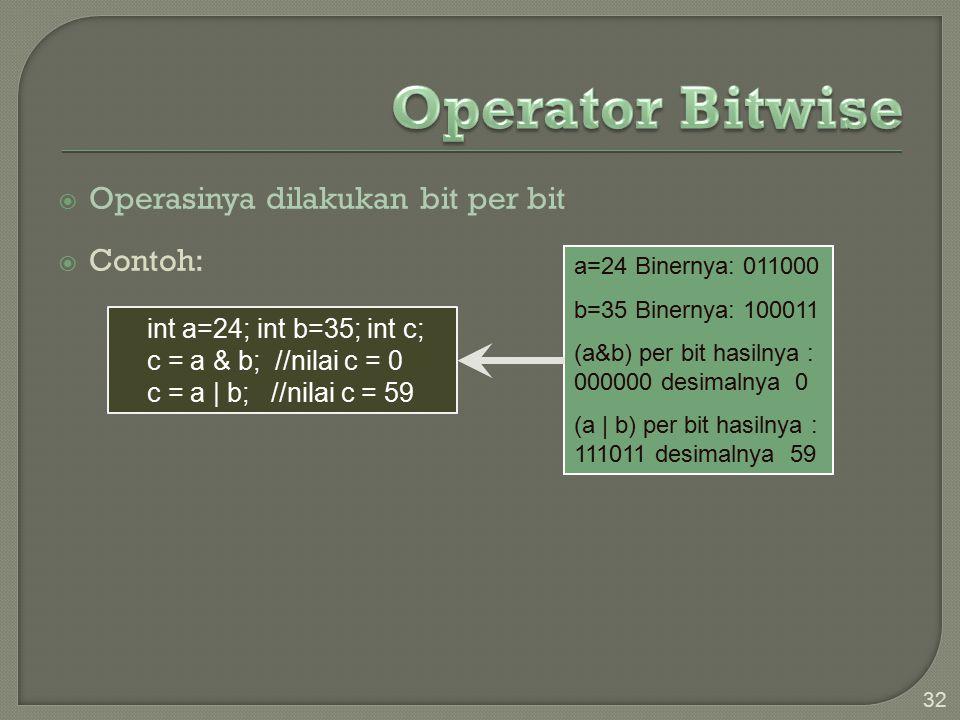  Operasinya dilakukan bit per bit  Contoh: 32 a=24 Binernya: 011000 b=35 Binernya: 100011 (a&b) per bit hasilnya : 000000 desimalnya 0 (a   b) per bit hasilnya : 111011 desimalnya 59 int a=24; int b=35; int c; c = a & b; //nilai c = 0 c = a   b; //nilai c = 59
