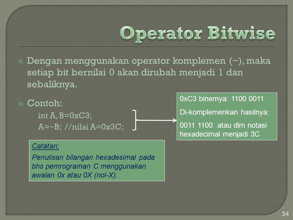  Dengan menggunakan operator komplemen (~), maka setiap bit bernilai 0 akan dirubah menjadi 1 dan sebaliknya.