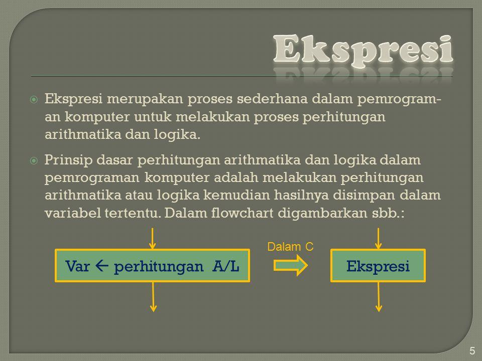  Ekspresi merupakan proses sederhana dalam pemrogram- an komputer untuk melakukan proses perhitungan arithmatika dan logika.