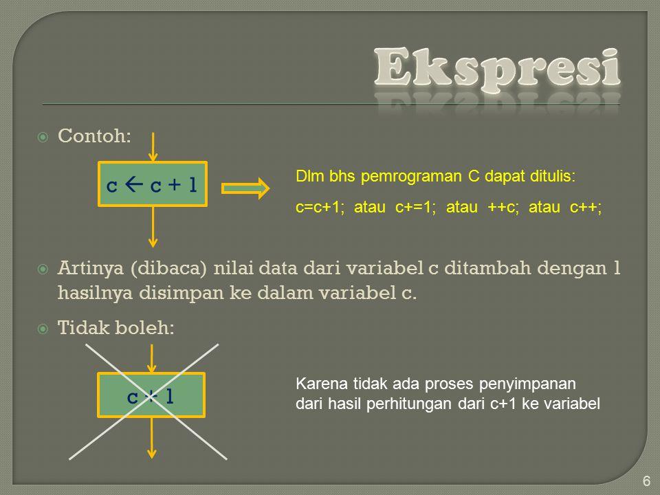  Contoh:  Artinya (dibaca) nilai data dari variabel c ditambah dengan 1 hasilnya disimpan ke dalam variabel c.