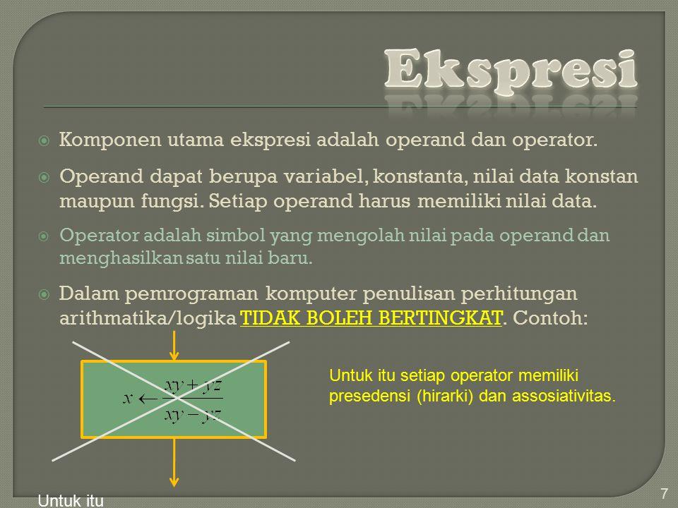  Komponen utama ekspresi adalah operand dan operator.