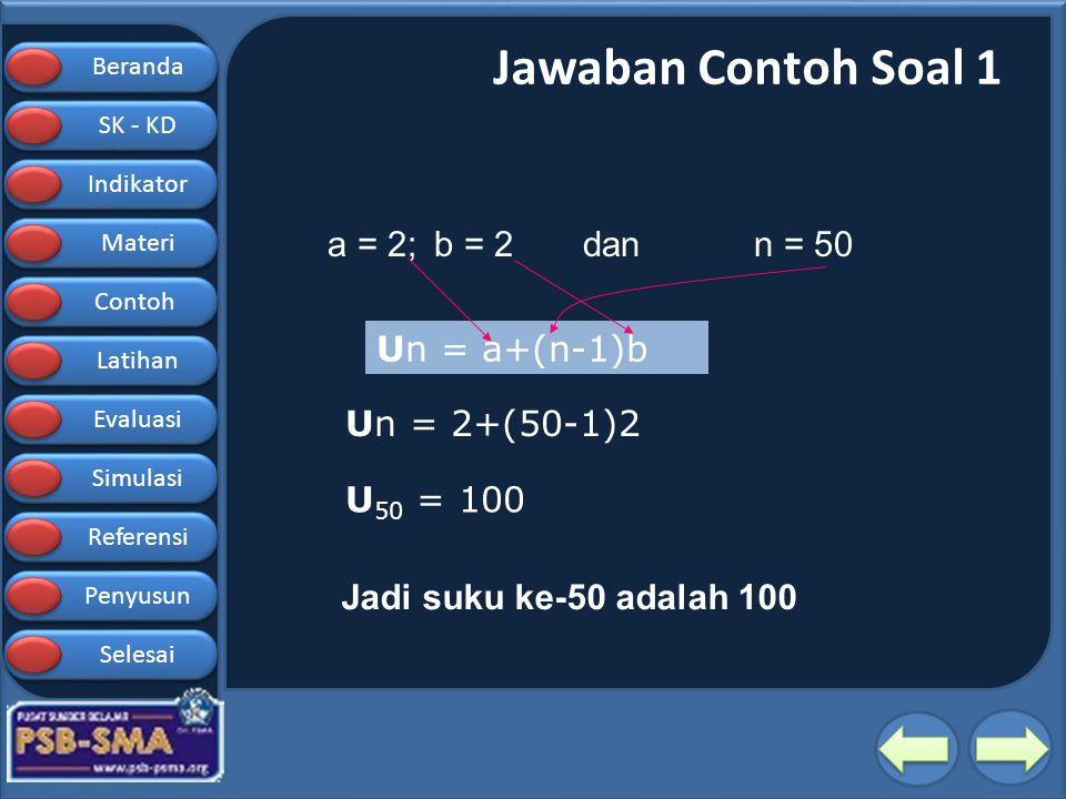 Beranda SK - KD SK - KD Indikator Materi Contoh Latihan Evaluasi Simulasi Referensi Penyusun Selesai Jawaban Contoh Soal 1 a = 2; b = 2 dan n = 50 Un