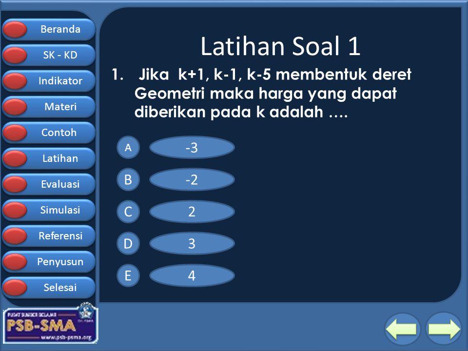 Beranda SK - KD SK - KD Indikator Materi Contoh Latihan Evaluasi Simulasi Referensi Penyusun Selesai Latihan Soal 1 1. Jika k+1, k-1, k-5 membentuk de
