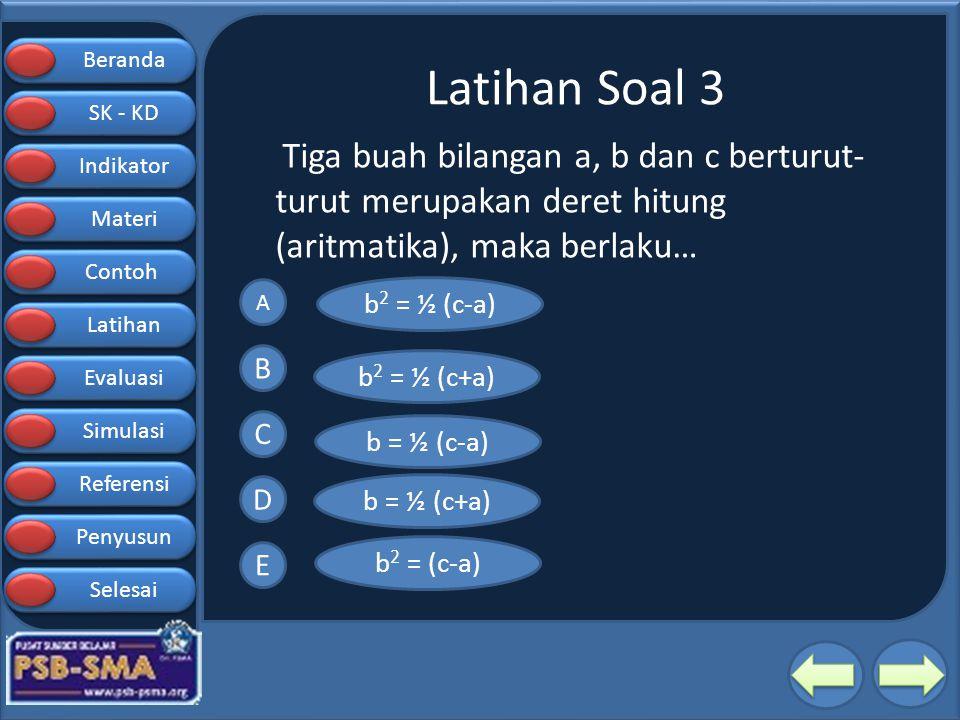 Beranda SK - KD SK - KD Indikator Materi Contoh Latihan Evaluasi Simulasi Referensi Penyusun Selesai Latihan Soal 3 Tiga buah bilangan a, b dan c bert