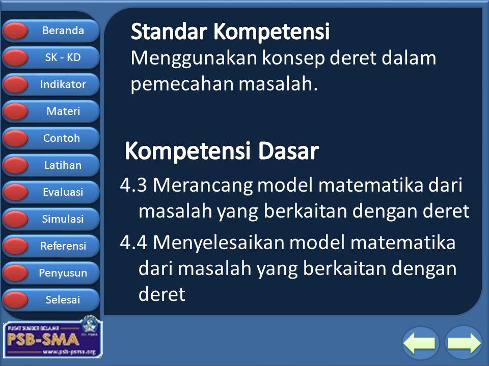 Beranda SK - KD SK - KD Indikator Materi Contoh Latihan Evaluasi Simulasi Referensi Penyusun Selesai Contoh Soal 2 Pada suatu deret Aritmatika, diketahui suku ketiga adalah 12, jumlah suku keempat dan keenam adalah 40.