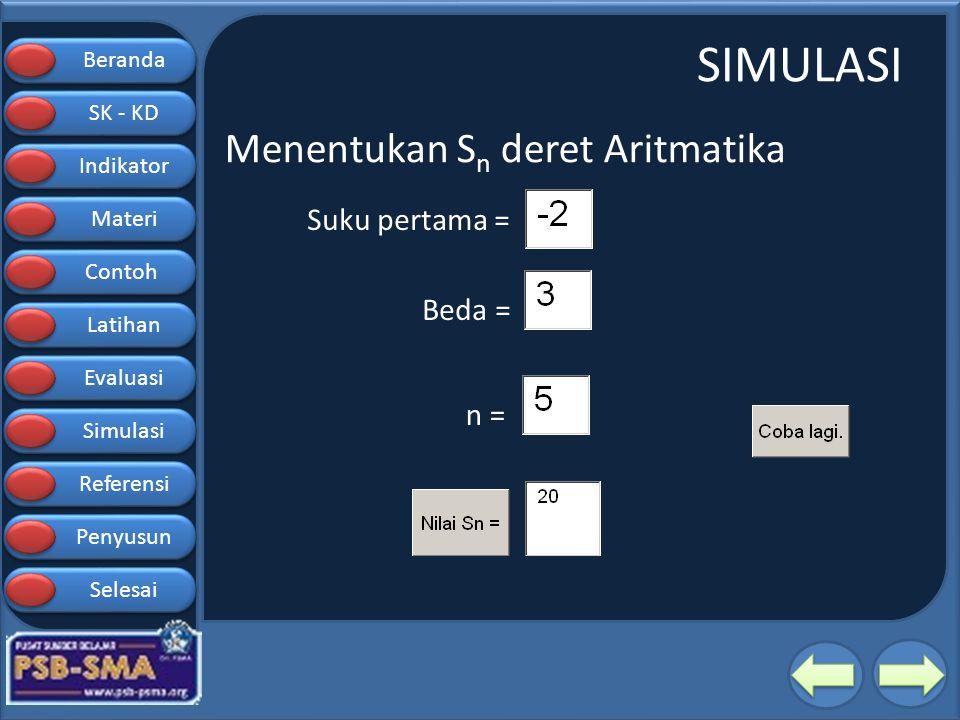 Beranda SK - KD SK - KD Indikator Materi Contoh Latihan Evaluasi Simulasi Referensi Penyusun Selesai SIMULASI Suku pertama = Beda = n = Menentukan S n