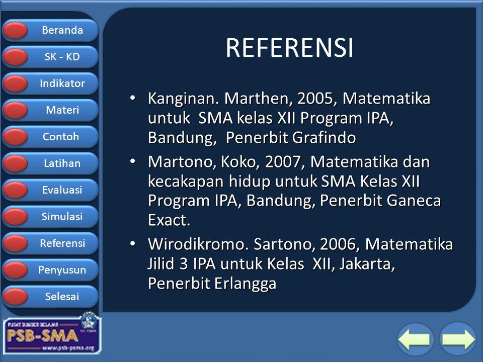 Beranda SK - KD SK - KD Indikator Materi Contoh Latihan Evaluasi Simulasi Referensi Penyusun Selesai REFERENSI Kanginan. Marthen, 2005, Matematika unt