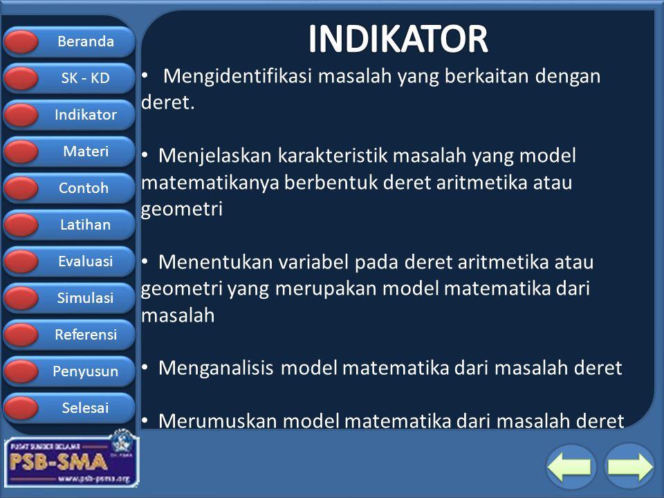 Beranda SK - KD SK - KD Indikator Materi Contoh Latihan Evaluasi Simulasi Referensi Penyusun Selesai SIMULASI Suku pertama = Beda = n = Menentukan S n deret Aritmatika