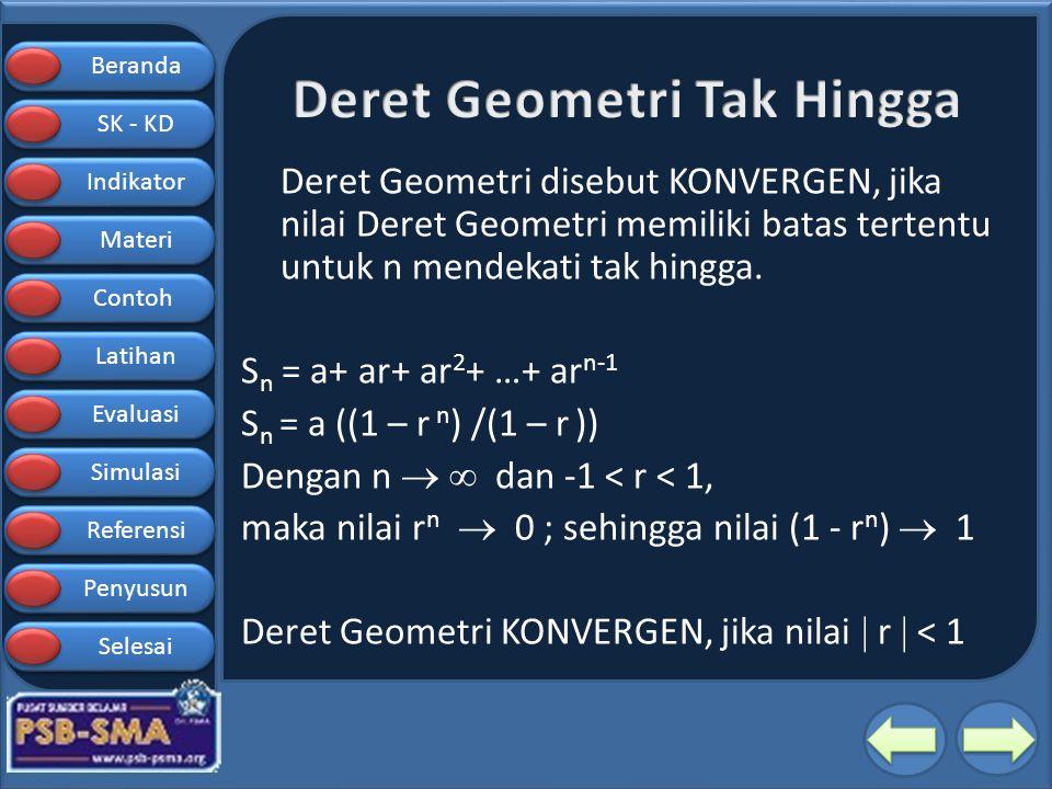 Beranda SK - KD SK - KD Indikator Materi Contoh Latihan Evaluasi Simulasi Referensi Penyusun Selesai Deret Geometri disebut KONVERGEN, jika nilai Dere
