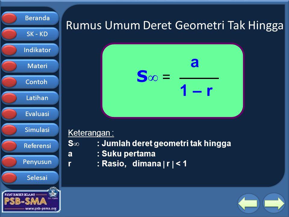 Beranda SK - KD SK - KD Indikator Materi Contoh Latihan Evaluasi Simulasi Referensi Penyusun Selesai Rumus Umum Deret Geometri Tak Hingga S  = a 1 –