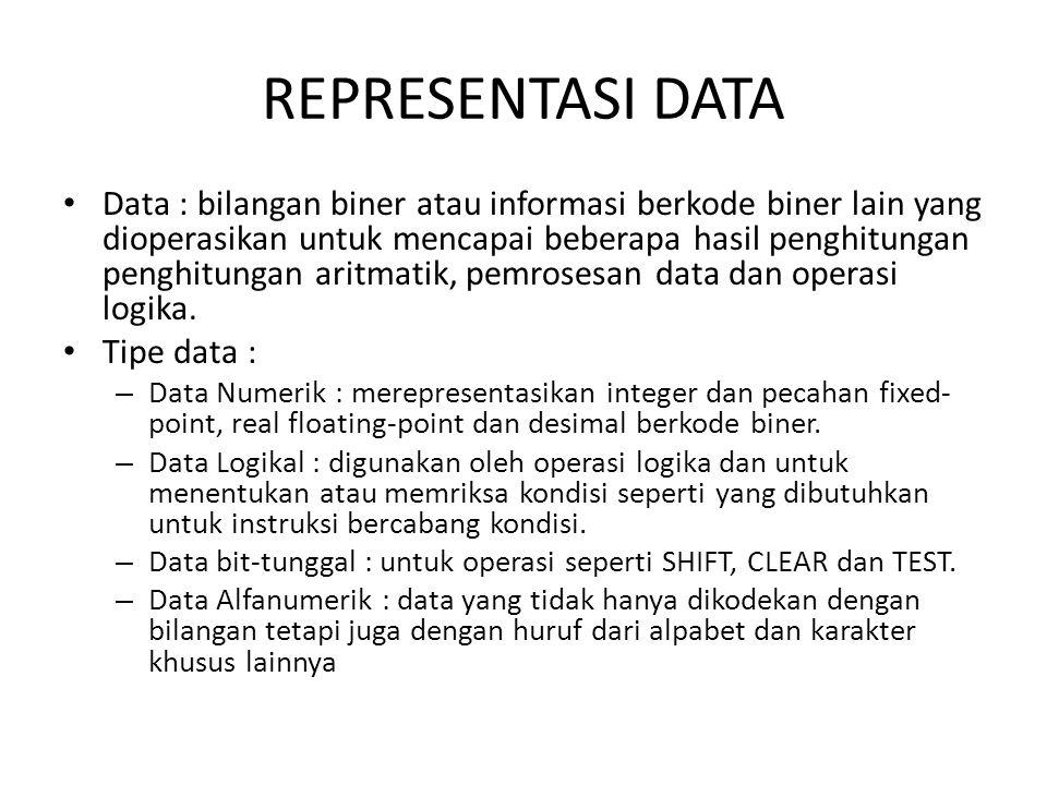 REPRESENTASI DATA Data : bilangan biner atau informasi berkode biner lain yang dioperasikan untuk mencapai beberapa hasil penghitungan penghitungan ar