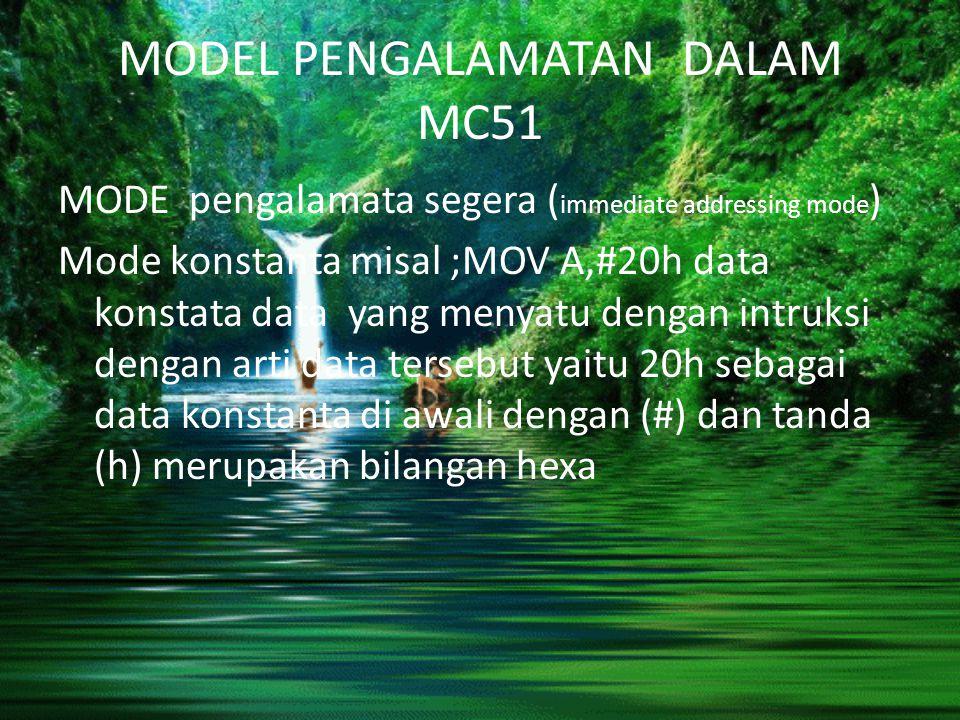 MODEL PENGALAMATAN DALAM MC51 MODE pengalamata segera ( immediate addressing mode ) Mode konstanta misal ;MOV A,#20h data konstata data yang menyatu d