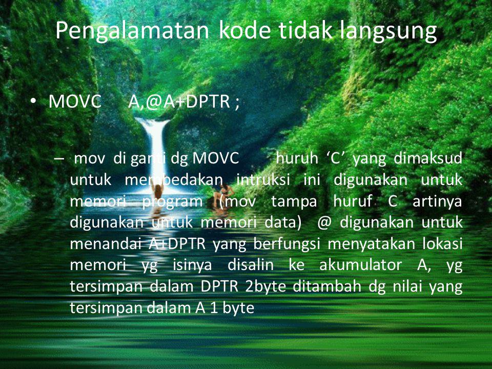 Pengalamatan kode tidak langsung MOVC A,@A+DPTR ; – mov di ganti dg MOVC huruh 'C' yang dimaksud untuk membedakan intruksi ini digunakan untuk memori