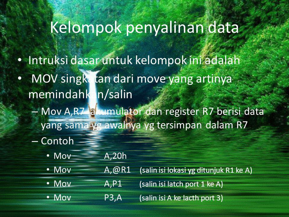 Kelompok penyalinan data Intruksi dasar untuk kelompok ini adalah MOV singkatan dari move yang artinya memindahkan/salin – Mov A,R7 akumulator dan reg