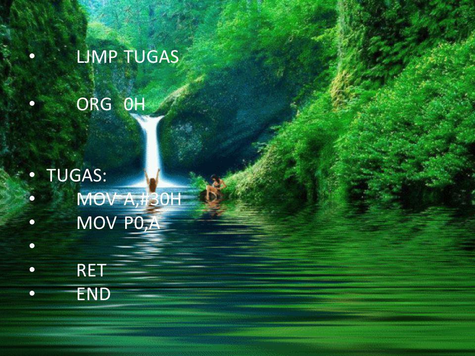 LJMPTUGAS ORG0H TUGAS: MOVA,#30H MOVP0,A RET END