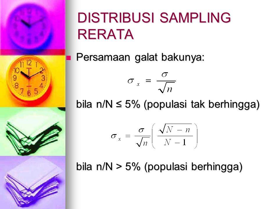 DISTRIBUSI SAMPLING RERATA Persamaan galat bakunya: Persamaan galat bakunya: bila n/N ≤ 5% (populasi tak berhingga) bila n/N > 5% (populasi berhingga)