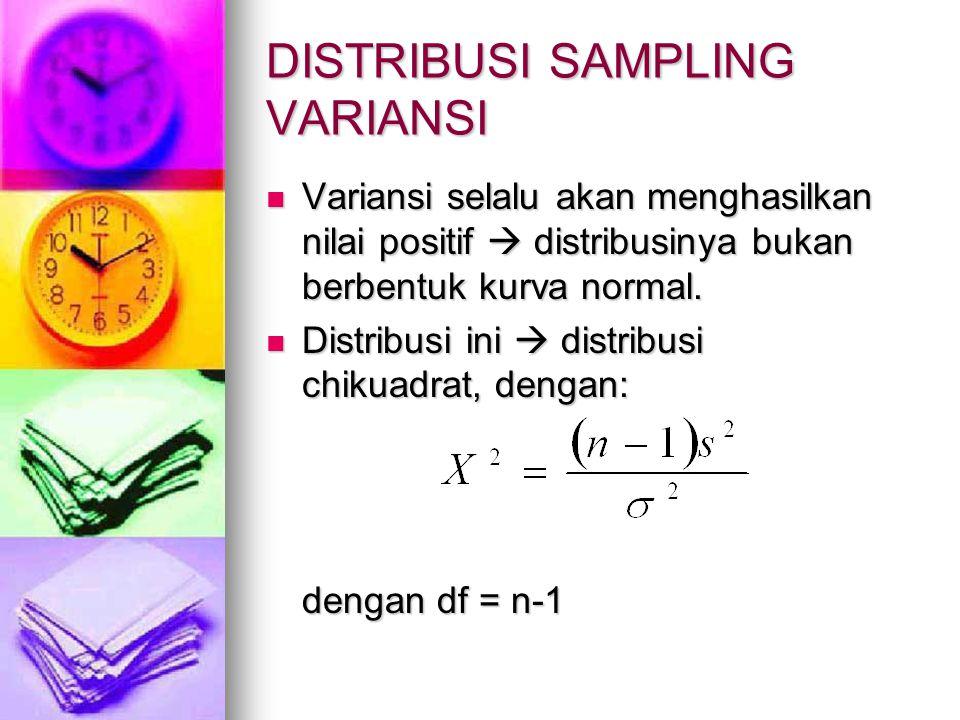 DISTRIBUSI SAMPLING VARIANSI Variansi selalu akan menghasilkan nilai positif  distribusinya bukan berbentuk kurva normal. Variansi selalu akan mengha
