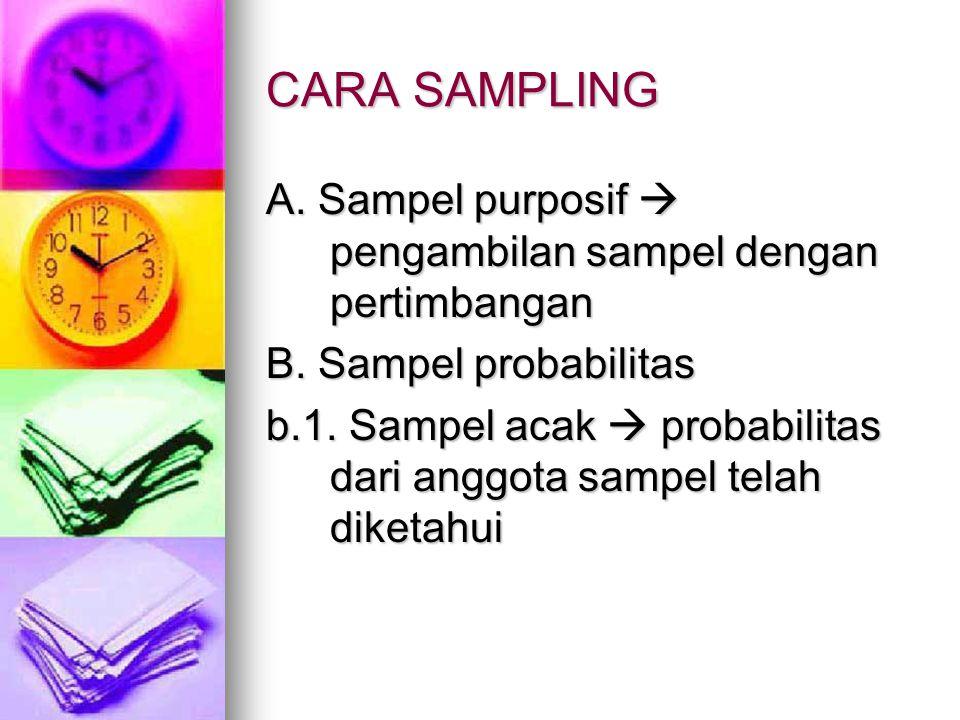 CARA SAMPLING A. Sampel purposif  pengambilan sampel dengan pertimbangan B. Sampel probabilitas b.1. Sampel acak  probabilitas dari anggota sampel t