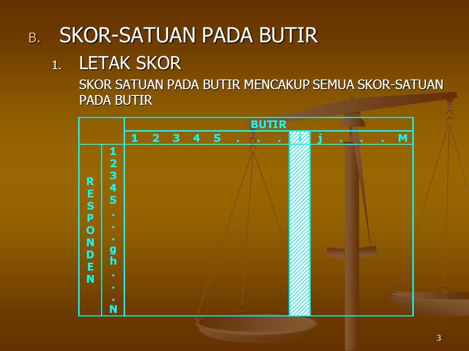 3 B. SKOR-SATUAN PADA BUTIR 1.