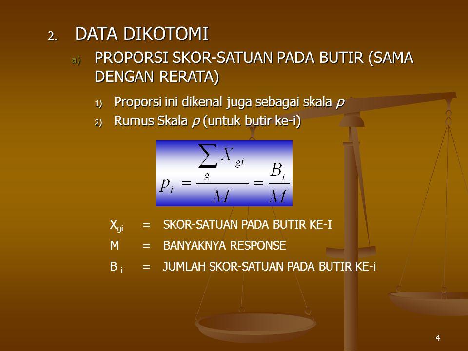 4 2. DATA DIKOTOMI a) PROPORSI SKOR-SATUAN PADA BUTIR (SAMA DENGAN RERATA) 1) Proporsi ini dikenal juga sebagai skala p 2) Rumus Skala p (untuk butir