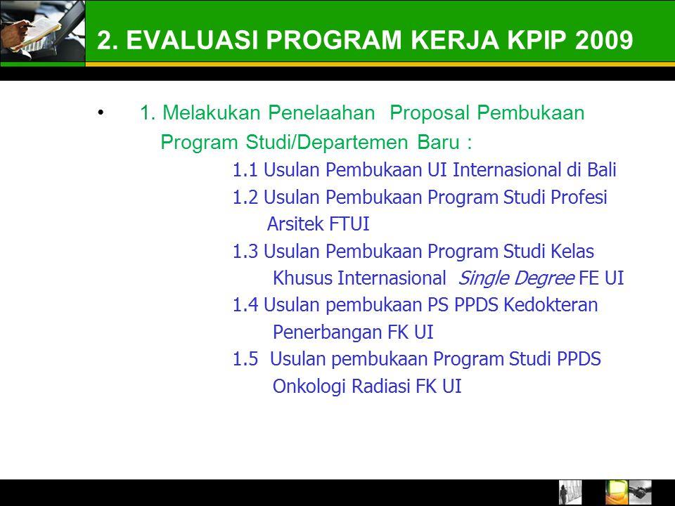 2. EVALUASI PROGRAM KERJA KPIP 2009 1.