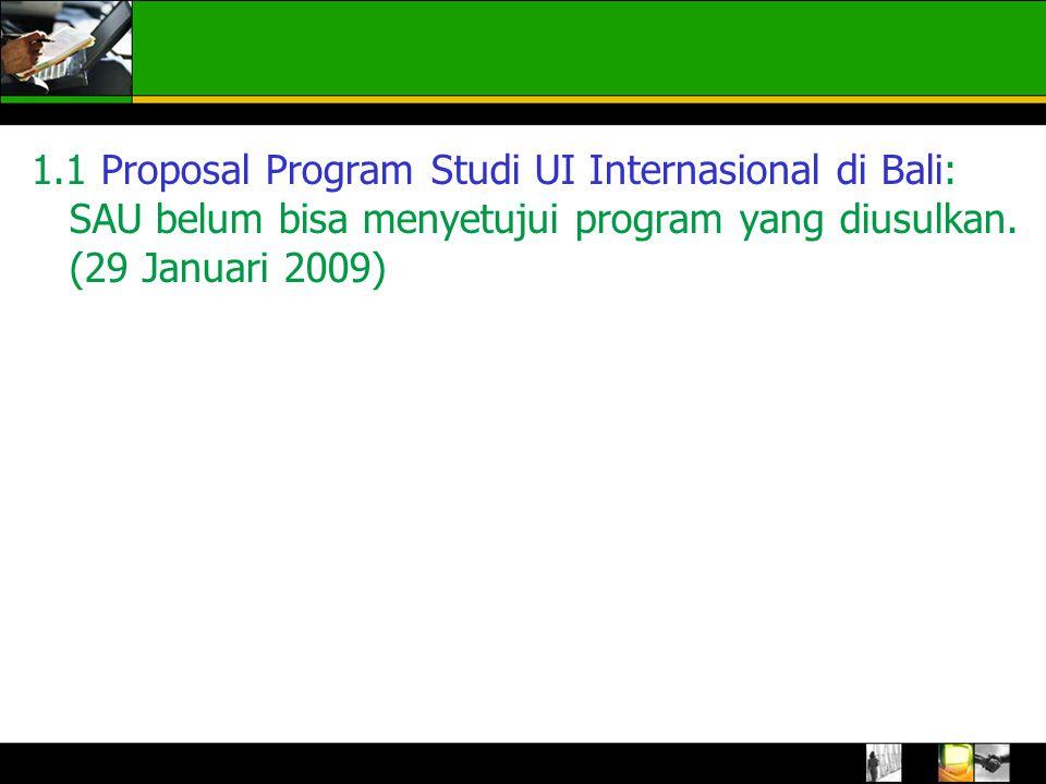 1.1 Proposal Program Studi UI Internasional di Bali: SAU belum bisa menyetujui program yang diusulkan.